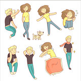 Relaxed People Illustration Set