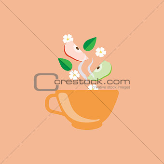 Apple Tea In Orange Cup