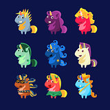 Unicorns In Costumes Set