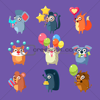 Animals With Party Elements Set