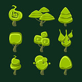 Trees With Fantastic Shape Crown Set