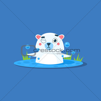 Bathing In Ice-hole Polar Bear