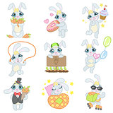 Cute Bunny Illustrations Set