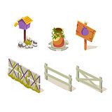 Farm Objects Simplified Cute Illustration Set