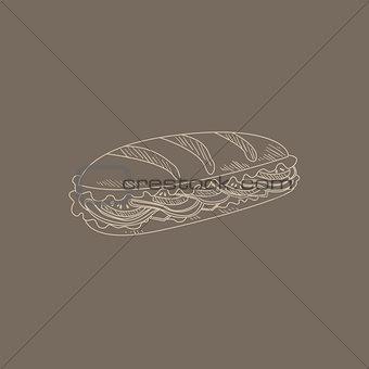 Cuban Sandwich Hand Drawn Sketch
