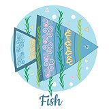 Fish Icon on blue background