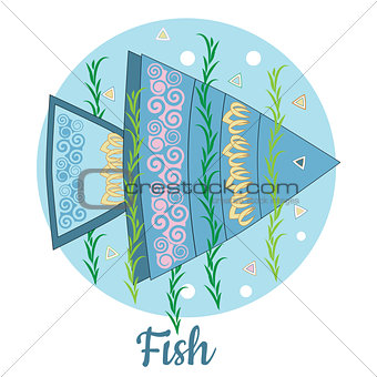 Fish Icon on blue background