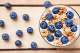 Nutritious and healthy yogurt with blueberries and cereal