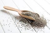 chia seeds in wooden scoop