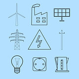 Electricity and energetics icons set