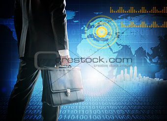 Close up of businessman against digital planet