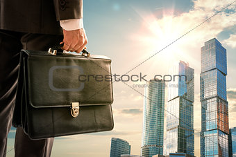 Man looking on city