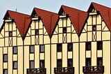 Half-timbered architecture. Fishing Village, Kaliningrad, Russia