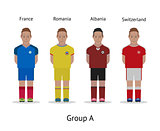 Players kit. Football championship in France 2016. Group A - France, Romania, Albania, Switzerland