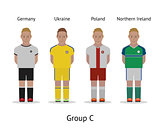 Players kit. Football championship in France 2016. Group C - Germany, Ukraine, Poland, Northern Ireland