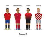 Players kit. Football championship in France 2016. Group D - Spain, Czech Republic, Turkey, Croatia