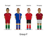 Players kit. Football championship in France 2016. Group F - Portugal, Iceland, Austria, Hungary