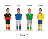 Players kit. Football championship in France 2016. Group E - Belgium, Italy, Ireland, Sweden