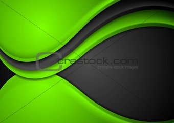 Green black abstract wavy background