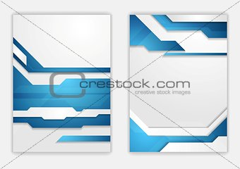 Abstract blue geometric tech flyer design