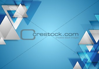 Corporate tech geometric background with triangles