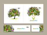 Business cards, tropical girl for your design