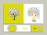 Business cards with floral girl for your design