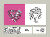 Floral girl, greeting card and banners for your design