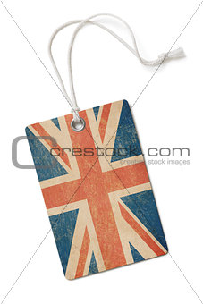 old paper cloth tag with Great Britain flag isolated