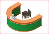 Reception flat isometric 3d illustration