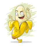 Crazy cartoon banana