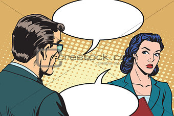 Businessman and businesswoman dialogue