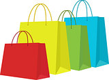 Set of Colorful Shopping Bags Isolated in White