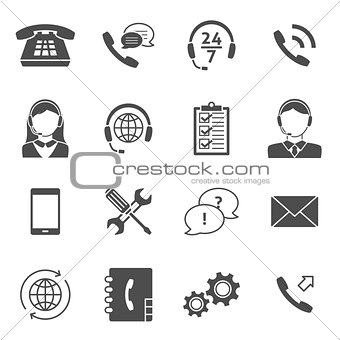 Call center service icons
