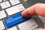 Hand Touching Data Processing Key.