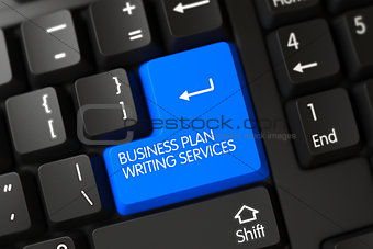 Blue Business Plan Writing Services Button on Keyboard.