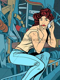 Modern woman phone background industrial landscape