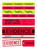 Evidence tapes, stamp, stickers and label