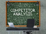 Competitor Analysis Concept. Doodle Icons on Chalkboard.