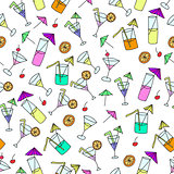 Seamless pattern of hand drawn cocktails