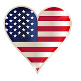 Flags of USA in a heart shape with highlights on the edges.