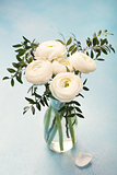 White ranunculus flowers in vase Blue background