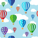 Seamless vector background with hot air balloons