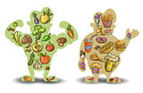 Human, thin, fat. Nutrition, diet, food on white background . Vector
