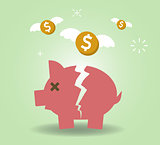 Broken Piggy Bank concept for financial crisis or economic depression
