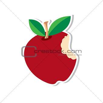Apple-Sticker-Red vector illustration
