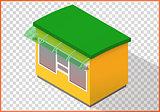 Store flat vector, kiosk 3d