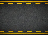 Road top view. Asphalt highway yellow line marks.