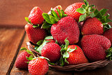 Fresh organic ripe strawberry with water splash