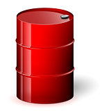 Red barrel vector illustration.
